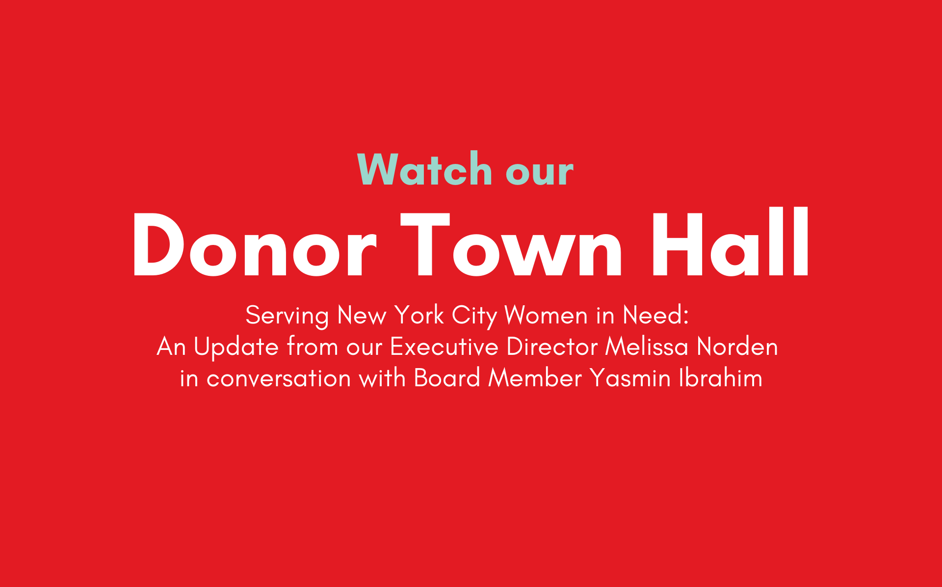 Donor Town Hall